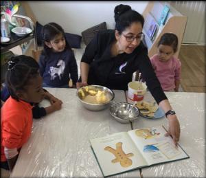 teacher teach kids how to make ginger bread nman