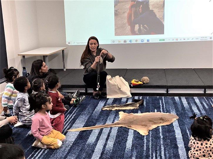 she showed a possum skin and kangaroo skin
